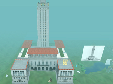 The above screen shot of Second Life depicts the Main Building (aka the Tower) at the University of Texas at Austin