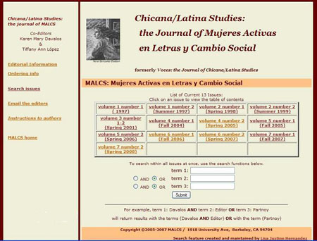 screen shot of Chicana/Latina Studies homepage. It is an online searchable database of the journal's 13 issues.